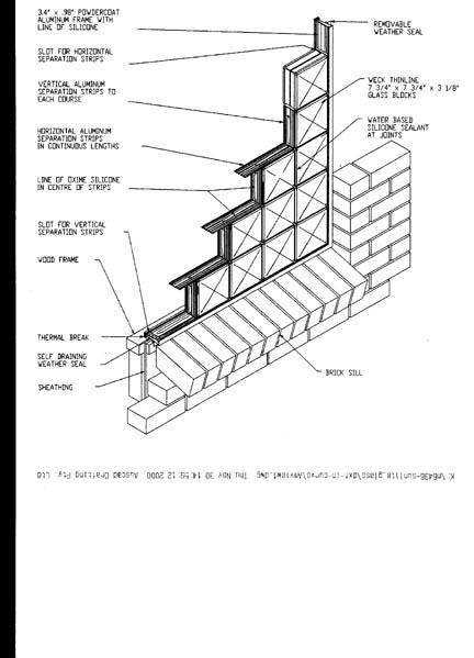 3D Glass Block Window Sketch - Brick Veneer