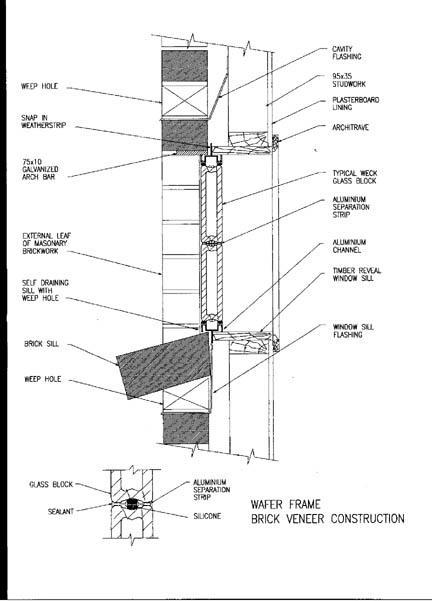 Wafer 1919-50 Section through Brick Veneer Wall (Australia)