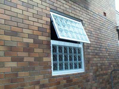 Opening Glass Block Window Over Fixed Panel